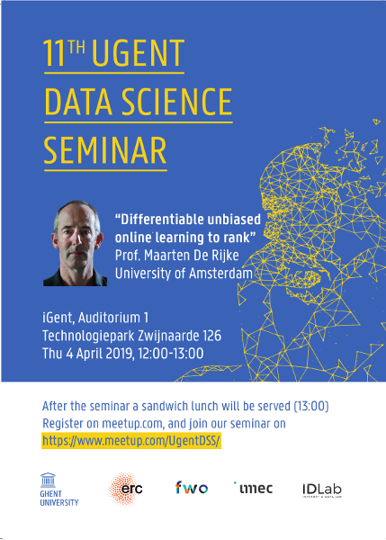 11th UGent Data Science Seminar with Prof. Maarten de Rijke